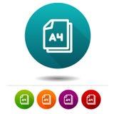 Εικονίδιο μεγέθους εγγράφου A4 Έγγραφο σημάδι συμβόλων DIN Κουμπί Ιστού απεικόνιση αποθεμάτων