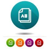 Εικονίδιο μεγέθους εγγράφου A8 Έγγραφο σημάδι συμβόλων DIN Κουμπί Ιστού ελεύθερη απεικόνιση δικαιώματος