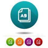 Εικονίδιο μεγέθους εγγράφου A9 Έγγραφο σημάδι συμβόλων DIN Κουμπί Ιστού διανυσματική απεικόνιση