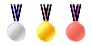 Εικονίδιο μεταλλίων Κομψό χρυσό ασημένιο σύνολο συλλογής ετικετών χαλκού Εικονίδιο χρυσού, ασημιών και χάλκινων μεταλλίων Μετάλλι Στοκ εικόνα με δικαίωμα ελεύθερης χρήσης