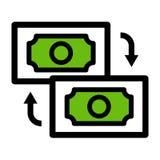 Εικονίδιο μεταφοράς χρημάτων r απεικόνιση αποθεμάτων