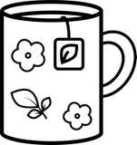 Εικονίδιο μιας κούπας με τα λουλούδια με μια τσάντα τσαγιού ελεύθερη απεικόνιση δικαιώματος