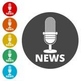 Εικονίδιο μικροφώνων ειδήσεων, διανυσματικό εικονίδιο μικροφώνων ειδήσεων Στοκ Εικόνες