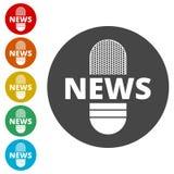 Εικονίδιο μικροφώνων ειδήσεων, διανυσματικό εικονίδιο μικροφώνων ειδήσεων Στοκ φωτογραφία με δικαίωμα ελεύθερης χρήσης