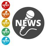 Εικονίδιο μικροφώνων ειδήσεων, διανυσματικό εικονίδιο μικροφώνων ειδήσεων Στοκ Φωτογραφία