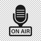 Εικονίδιο μικροφώνων στο διαφανές ύφος Ζήστε διανυσματική απεικόνιση ραδιοφωνικής μετάδοσης στο απομονωμένο υπόβαθρο Στην επιχειρ απεικόνιση αποθεμάτων
