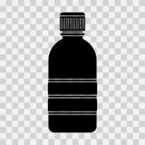 Εικονίδιο μπουκαλιών, μαύρη σκιαγραφία στο διαφανές υπόβαθρο διάνυσμα ελεύθερη απεικόνιση δικαιώματος