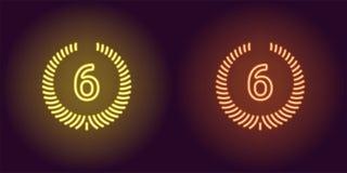 Εικονίδιο νέου της κίτρινης και πορτοκαλιάς έκτης θέσης Στοκ φωτογραφία με δικαίωμα ελεύθερης χρήσης