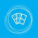 Εικονίδιο ντόμινο σε ένα μπλε υπόβαθρο με τους αφηρημένους κύκλους γύρω από και τη θέση για το κείμενό σας απεικόνιση αποθεμάτων