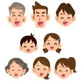 Εικονίδιο οικογενειακού χαμόγελου τριών γενεών διανυσματική απεικόνιση