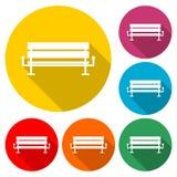 Εικονίδιο πάγκων ή λογότυπο, χρώμα που τίθεται με τη μακριά σκιά διανυσματική απεικόνιση
