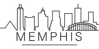 Εικονίδιο περιλήψεων πόλεων της Μέμφιδας στοιχεία του εικονιδίου γραμμών απεικόνισης εικονικών παραστάσεων πόλης τα σημάδια, σύμβ απεικόνιση αποθεμάτων