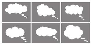 Εικονίδιο πλαισίων διαλόγου, φυσαλίδες κινούμενων σχεδίων συνομιλίας σκέψη σύννεφων διανυσματική απεικόνιση