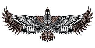 Εικονίδιο πουλιών αετών Διανυσματικό εραλδικό έμβλημα του ισχυρού άγριου γερακιού Δερματοστιξία πουλιών ελεύθερη απεικόνιση δικαιώματος