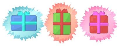 Εικονίδιο που τίθεται για τις διακοπές με τρία κιβώτια δώρων ελεύθερη απεικόνιση δικαιώματος