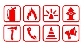 Εικονίδιο πυροσβεστήρων Επίπεδη πυρασφάλεια - διάνυσμα απεικόνιση αποθεμάτων