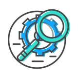 Εικονίδιο ρευμάτων στοιχείων με το πιό magnifier και σημάδι εργαλείων απεικόνιση αποθεμάτων