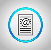 Εικονίδιο σελίδων διευθύνσεων ηλεκτρονικού ταχυδρομείου γύρω από το μπλε κουμπί ώθησης ελεύθερη απεικόνιση δικαιώματος