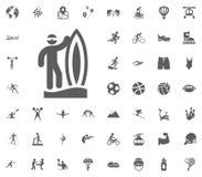 Εικονίδιο σερφ Διανυσματικά καθορισμένα εικονίδια αθλητικής απεικόνισης Σύνολο 48 αθλητικών εικονιδίων Στοκ φωτογραφία με δικαίωμα ελεύθερης χρήσης