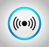 Εικονίδιο σημάτων δικτύων γύρω από το μπλε κουμπί ώθησης απεικόνιση αποθεμάτων