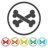 Εικονίδιο σημαδιών κόκκαλων σκυλιών Σύμβολο τροφίμων κατοικίδιων ζώων διανυσματική απεικόνιση