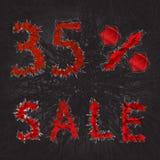 εικονίδιο σημαδιών πώλησης 35% Σύμβολο έκπτωσης Μαύρη πώληση Παρασκευής, εποχή δ Στοκ Εικόνες