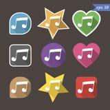 Εικονίδιο σημαδιών σημειώσεων μουσικής μουσικό σύμβολο 9 κουμπιά διάνυσμα διανυσματική απεικόνιση