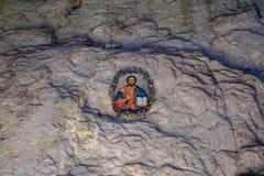 Εικονίδιο στη σπηλιά 2 εσωτερικών τοίχων πετρών Στοκ φωτογραφίες με δικαίωμα ελεύθερης χρήσης