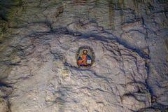 Εικονίδιο στη σπηλιά 1 εσωτερικών τοίχων πετρών Στοκ εικόνα με δικαίωμα ελεύθερης χρήσης