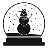 Εικονίδιο σφαιρών γυαλιού χιονανθρώπων, απλό ύφος διανυσματική απεικόνιση
