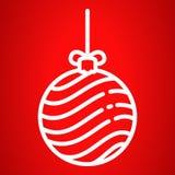 Εικονίδιο σφαιρών χριστουγεννιάτικων δέντρων, ύφος περιλήψεων διανυσματική απεικόνιση