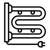 Εικονίδιο σωλήνων θέρμανσης βουλωμάτων, ύφος περιλήψεων διανυσματική απεικόνιση