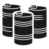Εικονίδιο σωρών βαρελιών βενζίνης, απλό ύφος απεικόνιση αποθεμάτων