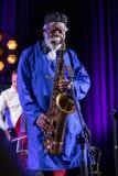 Εικονίδιο της παγκόσμιας τζαζ - Sanders Pharoah το εικονίδιο Quartetet ζωντανό στη σκηνή Kijow Κέντρο στο φεστιβάλ της θερινής Ja Στοκ φωτογραφίες με δικαίωμα ελεύθερης χρήσης