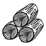 Εικονίδιο τριών κούτσουρων, απλό ύφος διανυσματική απεικόνιση