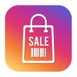 Εικονίδιο τσαντών πώλησης με το κουμπί hipster Κουμπί πώλησης Σύμβολο αγορών Στοκ Φωτογραφίες