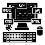 Εικονίδιο υπεύθυνων για την ανάπτυξη προγραμματισμού - κωδικοποίηση - wed, διανυσματική απεικόνιση, μαύρο σημάδι στο απομονωμένο  απεικόνιση αποθεμάτων