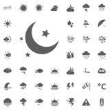 Εικονίδιο φεγγαριών και αστεριών Καιρικά διανυσματικά εικονίδια καθορισμένα Στοκ φωτογραφία με δικαίωμα ελεύθερης χρήσης