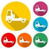 Εικονίδιο φορτηγών, σκιαγραφία φορτηγών, εικονίδιο χρώματος με τη μακριά σκιά Στοκ εικόνες με δικαίωμα ελεύθερης χρήσης