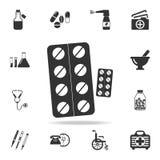 Εικονίδιο χαπιών Λεπτομερές σύνολο απεικόνισης στοιχείων ιατρικής Γραφικό σχέδιο εξαιρετικής ποιότητας Ένα από τα εικονίδια συλλο Στοκ Εικόνες