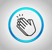Εικονίδιο χειροκροτήματος χεριών γύρω από το μπλε κουμπί ώθησης ελεύθερη απεικόνιση δικαιώματος