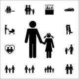 εικονίδιο χεριών εκμετάλλευσης πατέρων και κορών Λεπτομερές σύνολο οικογενειακών εικονιδίων Γραφικό σημάδι σχεδίου εξαιρετικής πο ελεύθερη απεικόνιση δικαιώματος