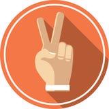 Εικονίδιο χεριών νίκης επίπεδο απεικόνιση αποθεμάτων