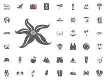 Εικονίδιο ψαριών αστεριών Καλοκαιρινές διακοπές και διακινούμενα διανυσματικά εικονίδια καθορισμένες Στοκ Εικόνα