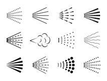 Εικονίδιο ψεκασμού Σύμβολο λακ πτώσης καθαρού νερού, μαύρη σκιαγραφία διασποράς λουτρών, αποσμητικό σύννεφο αερίου ακροφυσίων r απεικόνιση αποθεμάτων