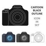 Εικονίδιο ψηφιακών κάμερα στο ύφος κινούμενων σχεδίων που απομονώνεται στο άσπρο υπόβαθρο Διανυσματική απεικόνιση αποθεμάτων συμβ Στοκ φωτογραφία με δικαίωμα ελεύθερης χρήσης