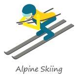 Εικονίδιο alpine skiing, isometric ύφος Διανυσματική απεικόνιση
