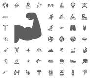 Εικονίδιο Bodybuilder Διανυσματικά καθορισμένα εικονίδια αθλητικής απεικόνισης Σύνολο 48 αθλητικών εικονιδίων Στοκ Φωτογραφίες