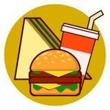 Εικονίδιο combo γρήγορου φαγητού κινούμενων σχεδίων - χάμπουργκερ, σάντουιτς, διανυσματική απεικόνιση σόδας που απομονώνεται στο  Ελεύθερη απεικόνιση δικαιώματος
