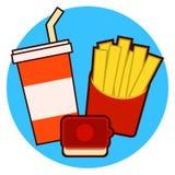 Εικονίδιο combo γρήγορου φαγητού με τις τηγανιτές πατάτες και σόδα σε μια μπλε διανυσματική απεικόνιση υποβάθρου Απεικόνιση αποθεμάτων